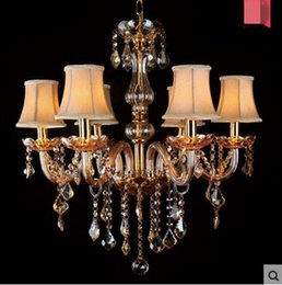Champagne Color Crystals NZ - Free ship 6 8 Arms Fashion crystal Chandelier lighting Bedroom pendant Chandelier champagne color gold crystal lighting lamps