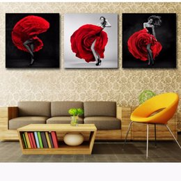 $enCountryForm.capitalKeyWord Australia - Canvas Paintings Style Modular Wall Art Framework Home Decor 3 Piece Roses Dancing Skirt Girl Abstract Pictures HD Prints Poster