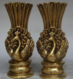 "brass birds NZ - 7"" Marked Chinese Brass peacock peafowl Bird Statue Flower Bottle Vase Pair"