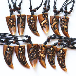 carved yak bone pendants Australia - Brown Imitation Yak Bone Carved 12 Signs Zodiac Constellations Pendants Necklace For Women Amulet Wholesale 12pcs Free Shipping