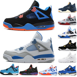 671bf087e70 Hot 4 4s Travis Scotts Cactus Jack Mens Basketball Shoes Raptors Kaws Denim Eminem  Pure Money Bred Royalty Military Blue men sports sneakers