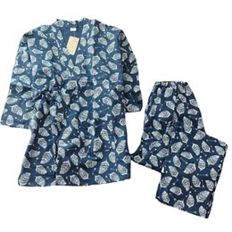 Men's Sleep & Lounge Men 100% Cotton Yukata Kimono Suit Men Japanese Traditional Pajamas Set Summer Japanese Style Bathrobe With Shorts 050401 Fast Color