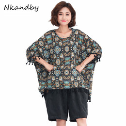 $enCountryForm.capitalKeyWord NZ - Big size Tees 2018 Summer European Large Women Clothes Loose Short sleeve Print Tassel Chiffon Oversized Batwing Tops Shirts