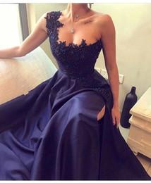 Long prom dresses stones online shopping - One Shoulder Satin Split Long Prom Dresses Beaded Stones Floor Length Evening Dresses BA9345