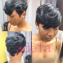 bob cut natural african hair 2018 - Pixie cut short human hair wigs for black women bob full lace front wigs with baby hair for Africans Natural Hair Pixie