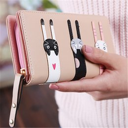 cartoon shape women bags Australia - PU leather Wallet Women Cat Pattern Hasp Coin Purse Long Wallets Card Holders Handbag Cartoon Cat Coin Purse Money Bag for Girl