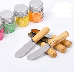 100pcs Stainless Steel Butter Spatula Wood Butter Knife Cheese Dessert Jam Spreader Breakfast Tool Cheese Spatula Tools on Sale