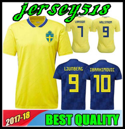 9378d85a8 2018 World Cup Sweden home Soccer jersey 18 19 Sweden Team National IBRAHIMOVIC  LJUNGBERG LARSSON away Football shirt