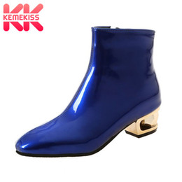 Shining Patent Leather Shoes NZ - KemeKiss Plus Size 33-48 Women High Heels Boots Patent Leather Shine Ankle Boots Fashion Patent Leather Warm Winter Women Shoes