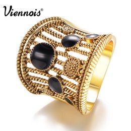 $enCountryForm.capitalKeyWord Australia - Viennois Gold Silver Color Vintage Size Rings for Woman Black Enamel Crafts Wide Finger Rings Hollow Out Party Ring Jewelry