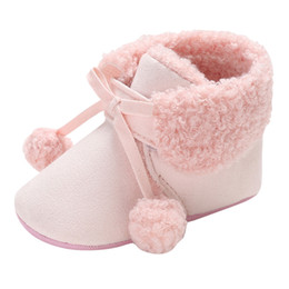 $enCountryForm.capitalKeyWord UK - New Fashion Winter Baby Shoes Great Gift Tassel High Cotton Hair Ball Tie Solid Color Boots Toddler Shoes
