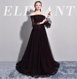 7c19af3530b JaneVini 2018 Elegant Long Formal Evening Dresses Black Red Spot Long  Sleeve Tulle Party Dress Boat Neck Sweep Train Celebrity Prom Gowns