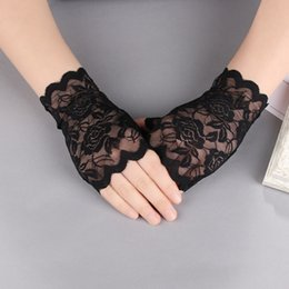 Wholesale Summer Women Sun Protection Gloves Sexy Lady Party Dressy Lace Fingerless Gloves Hollow Mittens Party Costume