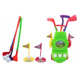 Golf Game Toy Australia - 11Pcs 3 Clubs 2 Holes 3 Balls and 2 Flags Golf Set Box Packed Children Plastic Golf Sports Toy Set Kids Game Gift Toy with