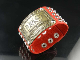 Coral Beads China Australia - High Quality Celebrity design Letter Metal Buckle Rivets Wide bracelet Real Leather Fashion Metal Cuff bracelet Jewelry With Box