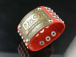 $enCountryForm.capitalKeyWord Australia - Quality Celebrity design Metal Buckle Rivets Wide bracelet Real Leather Metal Cuff bracelet Jewelry With Box