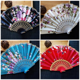 Discount japanese art styles - Classic Elegant Fold Fans Satin Gift Hand Plastic Lace Silk Flower Dance Fan For Women Arts And Crafts 2 6sz BB