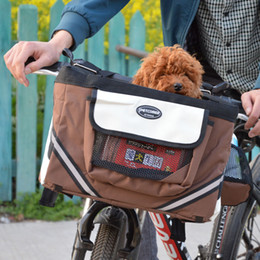 bicycle cat NZ - Portable Pet Dog Bicycle Carrier Bag Basket Puppy Dog Cat Travel Bike Carrier Seat Bag For small dog Products Travel Accessories