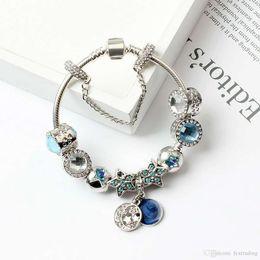 dd9435b5e9b5 2018 New Charm Pandor Pulseras Blue Cats Eyes Beads Pulsera 925 Pulseras de  plata Bright Stars Moon Bangle Diy Jewelry con logo original