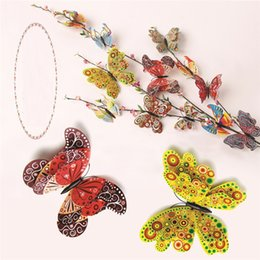 Colourful toys online shopping - Hot sale colourful simulation butterfly set bedroom DIY stereoscopic adornment Butterfly Home Furnishing Handicraft toys T3I0104