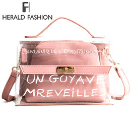 Herald Fashion Women Clear Transparent Handbag Tote Shoulder Bags Beach Bag  Popular Handbags Women Bags Designer Composite Bag 1748aa222f26d