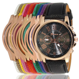 Geneva Watch Bands Men Australia - Unisex Luxury Geneva Watches PU Leather Band Quartz Roman Numerals Analog 15 Colors Wristwatches for Men Women Casual Wrist Watch