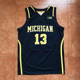 a186f57c4  13 Moritz Wagner Michigan Wolverines College Classic Blue Basketball Jersey  Men s Embroidery Stitches Customize any Number and name
