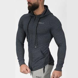 male gym clothes UK - Mens cotton Hoodies Fashion Casual Zipper sweatshirt male gyms fitness Bodybuilding workout sportswear Hooded Jacket clothing