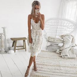 white lace dresses midi 2019 - Sexy Party Dress Women Summer Deep V Neck Backless Lace Dresses Fashion Sleeveless Halter Bandage Midi Dress #BF cheap w