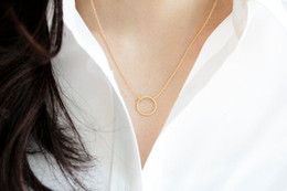 Dainty Pendants Australia - Simple Dainty round Ring Circle pendant geometric Necklace Open Circle Outline Necklace eternity karma circle round necklace jewelry