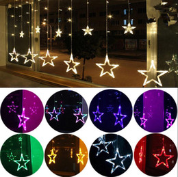 Fairy tree ornaments online shopping - LED Star Hanging Curtain String Lights V V LEDs Fairy Lamps Party Room Christmas Decor OOA5890