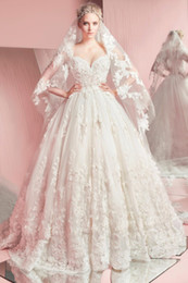 line gold lace tulle zuhair murad 2019 - 2018 Zuhair Murad A-Line Wedding Dress Sweetheart Tulle Floor Length Appliqued Lace Ball Gown Wedding Dresses vestidos d
