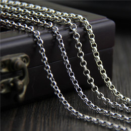 925 Marcasite Sterling Silver NZ - vintage jewelry 925 sterling silver neckace 4mm 45-80cm fashion Retro marcasite necklace long sweater chain men and women o ring chain