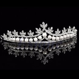 headband veil princess Australia - Wedding Bridal Prom Princess Rhinestone Pearl Crystal HairBand Tiara Wedding Crown Veil Headband