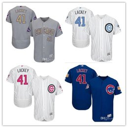 76aceb6a3 custom Men's Women Youth Majestic Cubs Jersey #41 John Lackey Home Blue  Gery white Champions Kids Girls Baseball Jerseys