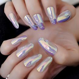 $enCountryForm.capitalKeyWord Australia - Chrome Pink Mirror False Nail Metallic Oval Round False Nail Metal Pink Fake Nails Acrylic Artificial Art