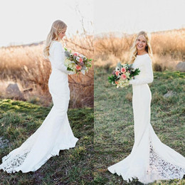 $enCountryForm.capitalKeyWord Canada - jewel long sleeve mermaid bohemian wedding dresses 2018 vintage simple lace stain country garden beach wood trumpet wedding gowns
