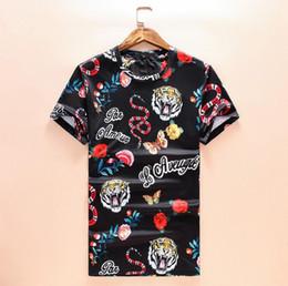 Venta al por mayor de Camisetas para hombres 2019 Nuevo diseñador Ropa para hombres Camisa de lujo Moda de verano Marea Streetwear Serpiente del tigre Rose Imprimir manga corta Talla M-3XL
