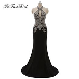 black girls elegant prom dresses UK - Girls Dress Elegant Sexy Halter With Appliques Mermaid Long Satin Party Formal Evening Dresses for Women Prom Dress Gowns