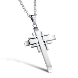 $enCountryForm.capitalKeyWord UK - Silver Black Gold Color Fashion Lover's Cross Gemstone Pendant Necklace Stainless Steel Link Chain Necklace Jewelry Gift for Men Boys 941