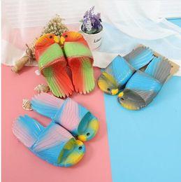 Pvc children sliPPers online shopping - children and women Parrot Slippers Kids Sandals Creative Fashion Toddler Cute Beach Shoes outdoor casual slipper KKA5550