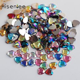 color stone charms NZ - Hisenlee 3D Nail Charms Love Heart-Shaped 6mm 13 AB Color Acrylic Fake Diamond Glitter Crystal Stone Manicure Deco for DIY Nails