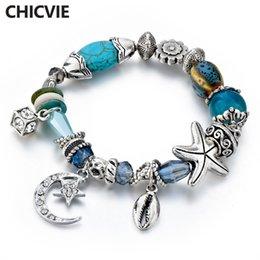 moon star bracelets 2019 - CHICVIE Moon & Stars Friendship Bracelets & Bangles Charms For Women Jewelry Making stainless steel Glass Bracelets SBR1