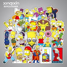 anime car decal stickers 2019 - 50pcs Set Anime Cartoon Simpson Mixed Stickers For car Laptop Sticker Decal Fridge Skateboard PVC Stickers For cheap ani