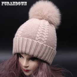 Fox Fur Pompom Winter Hats For Women Cashmere Wool Knit Beanie Cap Real  Raccoon Fur Ball Bobble Hat 2017 5ab08574a59f