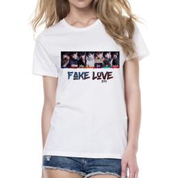 Pop Tees Australia - Kpop Bts Fake Love Women T Shirt Summer Short Sleeve Korean Love Yourself Bts T-Shirt Funny Graphic Printed K-Pop Tees Clothes