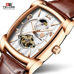 Wholesale Watches Men Relogio Automatico Business Square Design Unique Mechanical Watch Brand TEVISE Sport Masculino