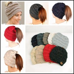 83361b73080 plain cap backs 2018 - 8 Colors Women CC Confetti Print Ponytail Caps CC  Knitted Beanie