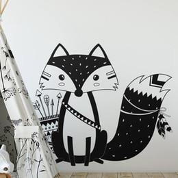 $enCountryForm.capitalKeyWord NZ - God Tribal Fox Wall Decal Cute Woodland Fox Wall Sticker for Kids Room Nursery Art Tattoo Vinyl Murals