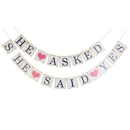 $enCountryForm.capitalKeyWord UK - HE ASKED SHE SAID YES Card Paper Wedding Banner Decorations Photo Booth Prop Party Favors And Gift Supplies Bridal Shower